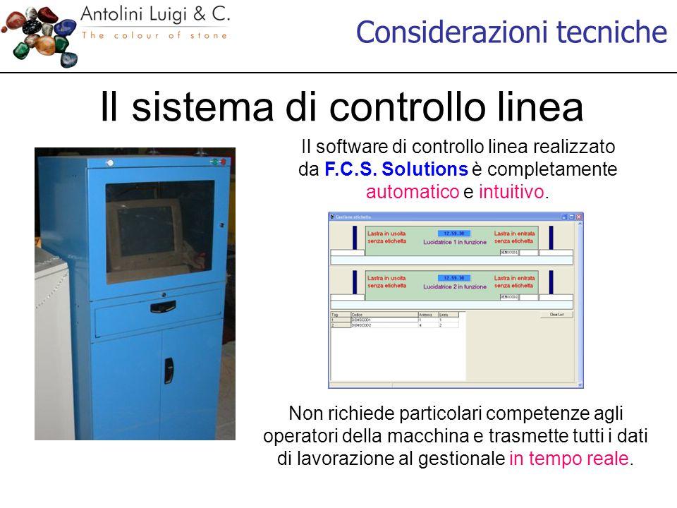 Considerazioni tecniche Il sistema di controllo linea Il software di controllo linea realizzato da F.C.S. Solutions è completamente automatico e intui