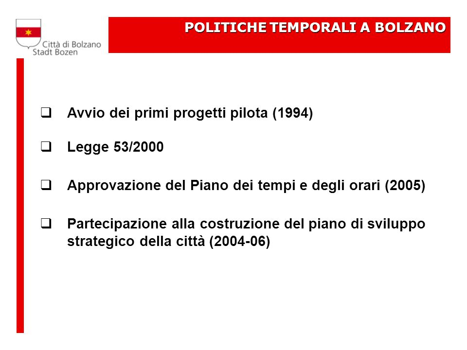 POLITICHE TEMPORALI A BOLZANO  Avvio dei primi progetti pilota (1994)  Legge 53/2000  Approvazione del Piano dei tempi e degli orari (2005)  Partecipazione alla costruzione del piano di sviluppo strategico della città (2004-06)