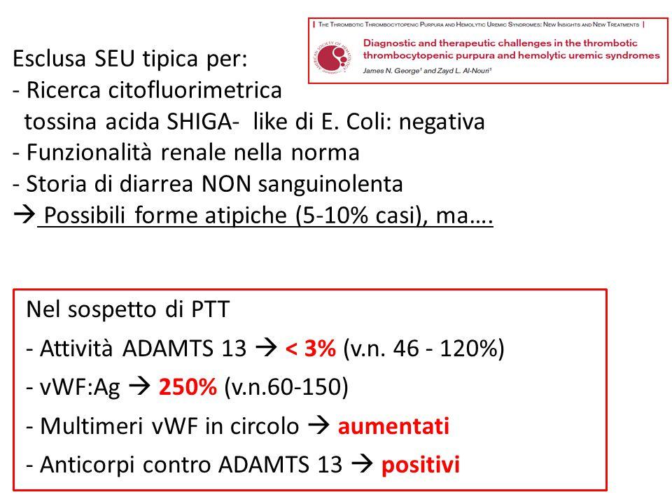 Esclusa SEU tipica per: - Ricerca citofluorimetrica tossina acida SHIGA- like di E. Coli: negativa - Funzionalità renale nella norma - Storia di diarr