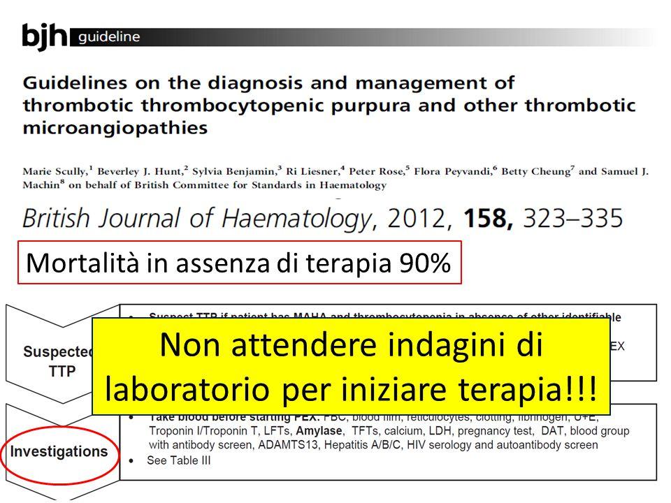 Mortalità in assenza di terapia 90% Non attendere indagini di laboratorio per iniziare terapia!!!
