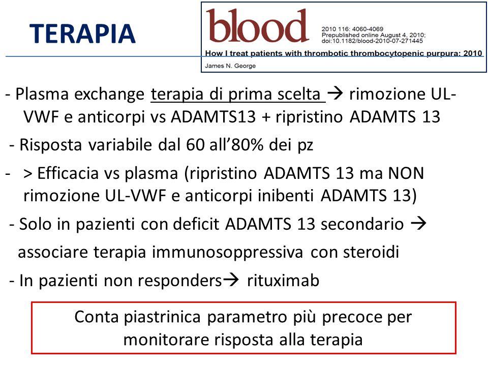 - Plasma exchange terapia di prima scelta  rimozione UL- VWF e anticorpi vs ADAMTS13 + ripristino ADAMTS 13 - Risposta variabile dal 60 all'80% dei pz -> Efficacia vs plasma (ripristino ADAMTS 13 ma NON rimozione UL-VWF e anticorpi inibenti ADAMTS 13) - Solo in pazienti con deficit ADAMTS 13 secondario  associare terapia immunosoppressiva con steroidi - In pazienti non responders  rituximab Conta piastrinica parametro più precoce per monitorare risposta alla terapia TERAPIA