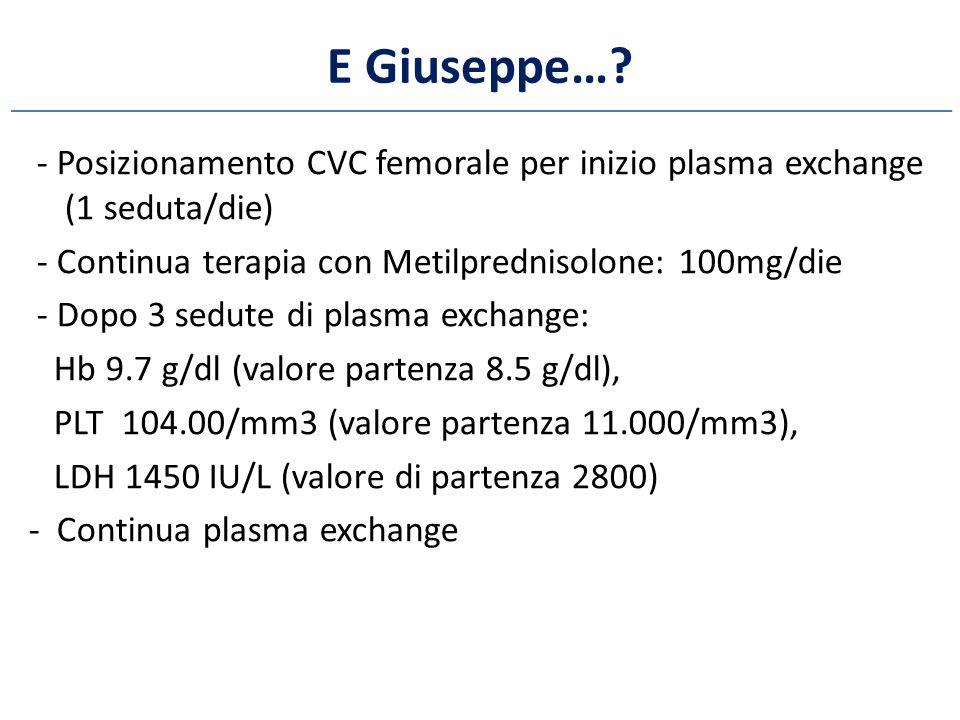 E Giuseppe…? - Posizionamento CVC femorale per inizio plasma exchange (1 seduta/die) - Continua terapia con Metilprednisolone: 100mg/die - Dopo 3 sedu