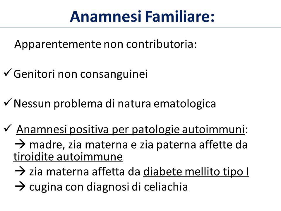 Anamnesi Familiare: Apparentemente non contributoria: Genitori non consanguinei Nessun problema di natura ematologica Anamnesi positiva per patologie
