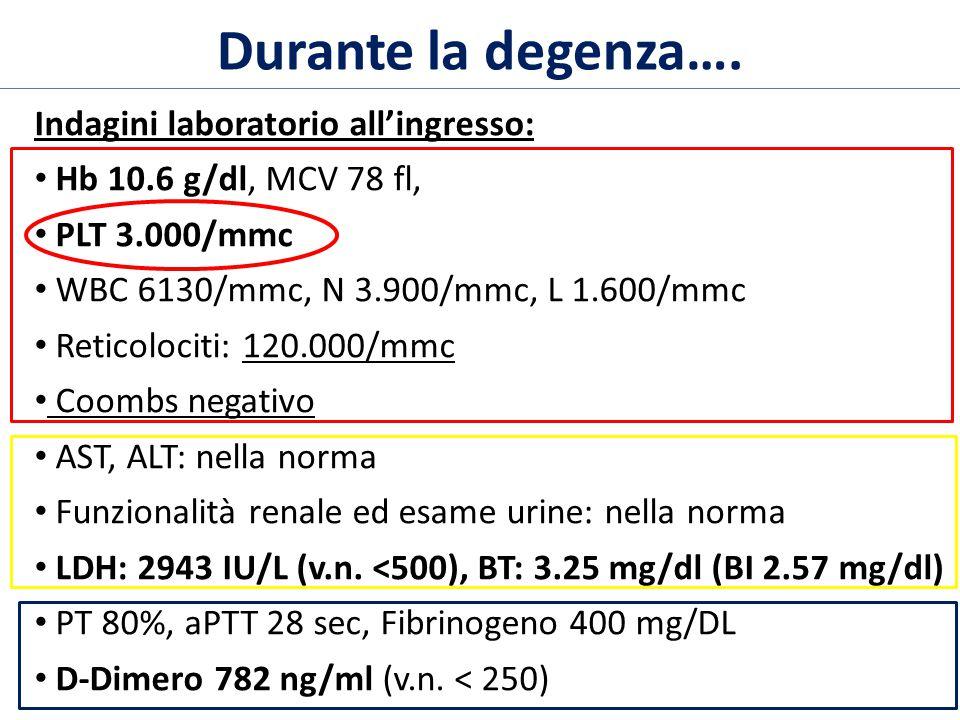 Indagini laboratorio all'ingresso: Hb 10.6 g/dl, MCV 78 fl, PLT 3.000/mmc WBC 6130/mmc, N 3.900/mmc, L 1.600/mmc Reticolociti: 120.000/mmc Coombs negativo AST, ALT: nella norma Funzionalità renale ed esame urine: nella norma LDH: 2943 IU/L (v.n.
