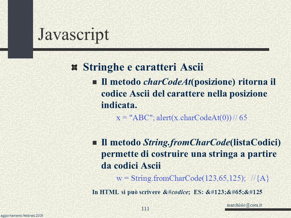 marchisio@csea.it aggiornamento febbraio 2005 110 Javascript Ricerche con le stringhe Esistono due metodi per eseguire delle ricerche all'interno di s