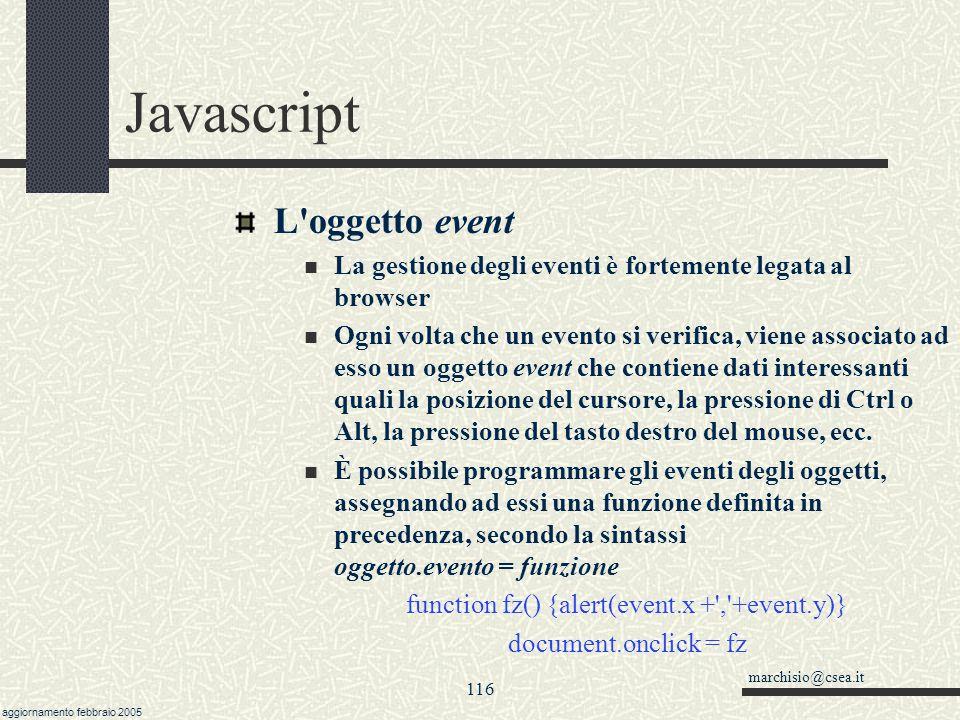 marchisio@csea.it aggiornamento febbraio 2005 115 Javascript Eventi Ci sono tre eventi principali comuni a quasi tutti gli elementi (link, immagini, e
