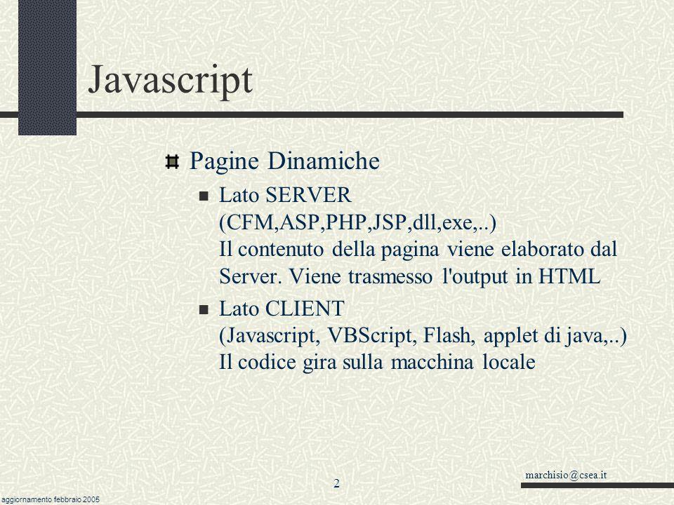 Javascript Dispense corso di base… Oggetti: metodi, proprietà, eventi - Istruzioni - Variabili Funzioni - Array - Oggetti Predefiniti - Funzionalità m