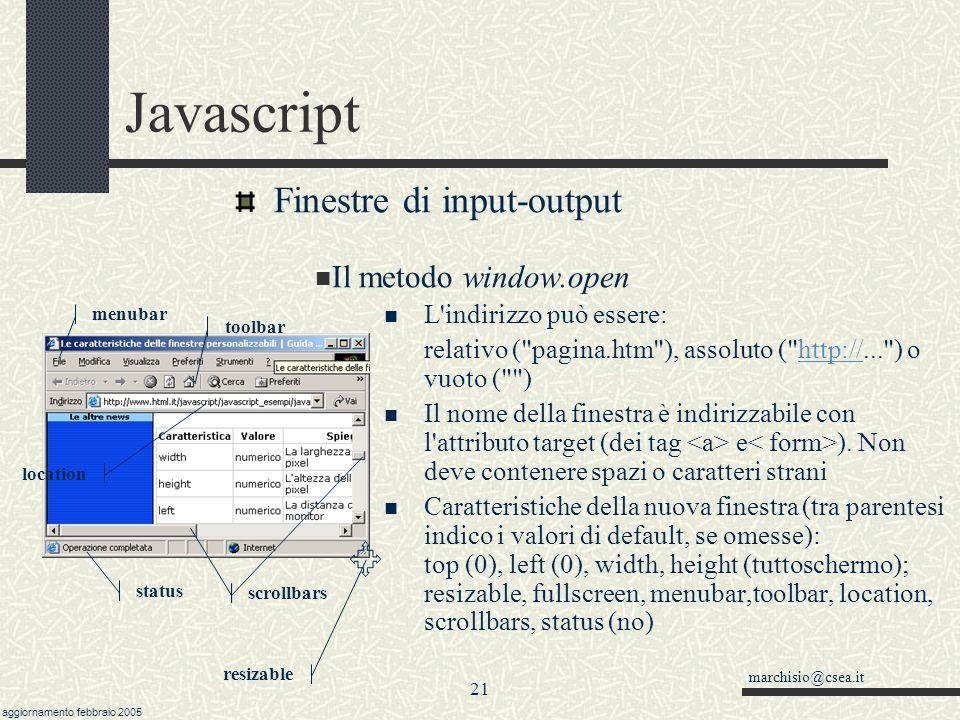 marchisio@csea.it aggiornamento febbraio 2005 20 Javascript Finestre di input-output Il metodo window.open url= http://memo.ghiglieno.it parametri = width=250,height=300,top=50,left=140,toolbar finestra=window.open(url, nome , parametri) if (confirm( Chiudi? )) finestra.close() Questa funzione crea una nuova finestra browser.
