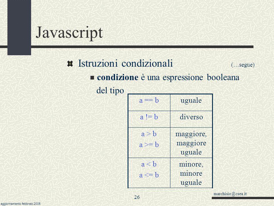 marchisio@csea.it aggiornamento febbraio 2005 25 Javascript Istruzioni condizionali: switch Serve per individuare vari casi (confronto di uguaglianza) la parte compresa tra il case e i : può essere qualsiasi espressione calcolata.