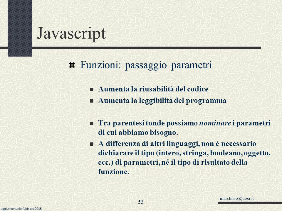 marchisio@csea.it aggiornamento febbraio 2005 52 Javascript Funzioni e Procedure Sono quasi sinonimi Tecnicamente, una funzione ritorna un valore, una procedura non ritorna nulla.