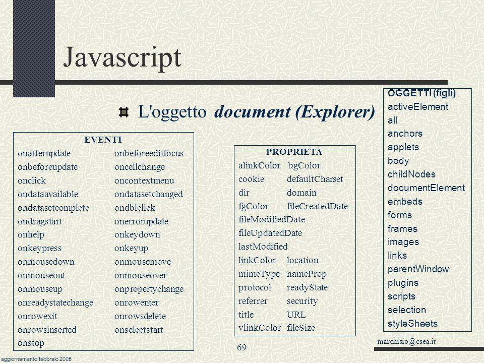 marchisio@csea.it aggiornamento febbraio 2005 68 Javascript Il metodo document.write( ) Può essere felicemente impiegato in tutti i casi di pagine car