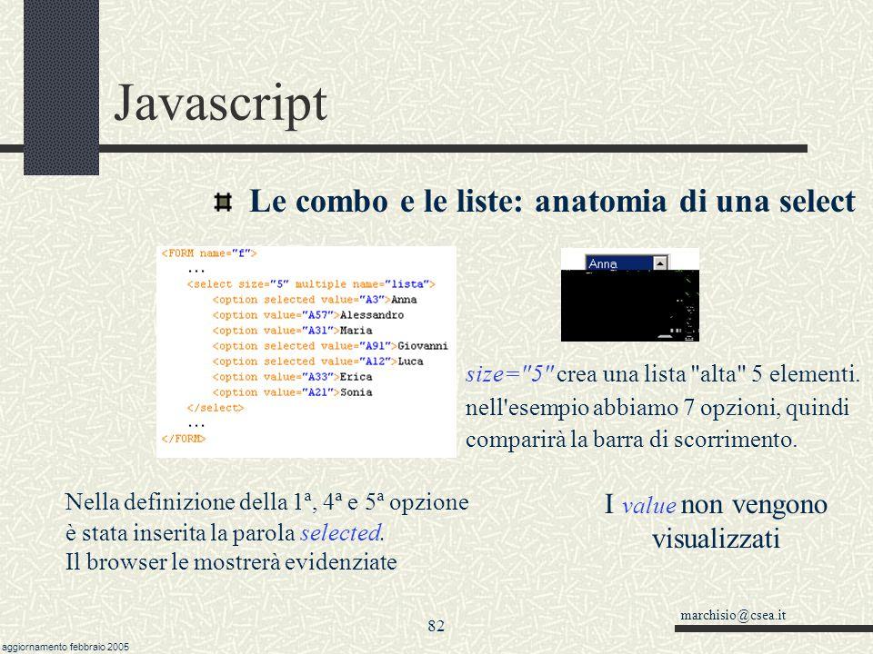 marchisio@csea.it aggiornamento febbraio 2005 81 Javascript Le combo e le liste: le options L'oggetto ha al suo interno una collezione (= un vettore)