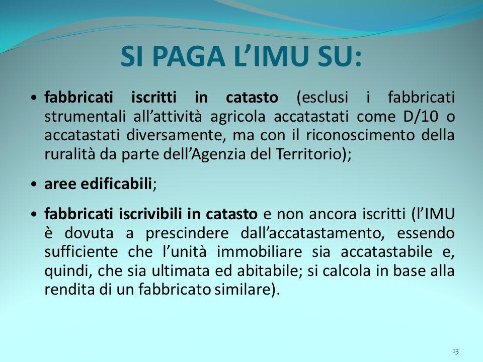 13 SI PAGA L'IMU SU: fabbricati iscritti in catasto (esclusi i fabbricati strumentali all'attività agricola accatastati come D/10 o accatastati divers