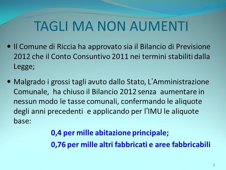 3 TAGLI MA NON AUMENTI Il Comune di Riccia ha approvato sia il Bilancio di Previsione 2012 che il Conto Consuntivo 2011 nei termini stabiliti dalla Le