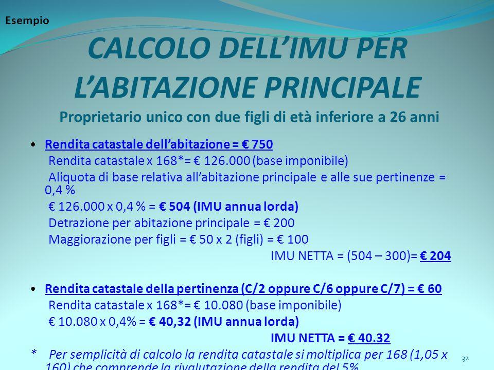32 CALCOLO DELL'IMU PER L'ABITAZIONE PRINCIPALE Proprietario unico con due figli di età inferiore a 26 anni Rendita catastale dell'abitazione = € 750