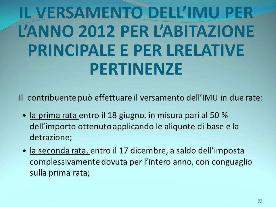 33 IL VERSAMENTO DELL'IMU PER L'ANNO 2012 PER L'ABITAZIONE PRINCIPALE E PER LRELATIVE PERTINENZE Il contribuente può effettuare il versamento dell'IMU