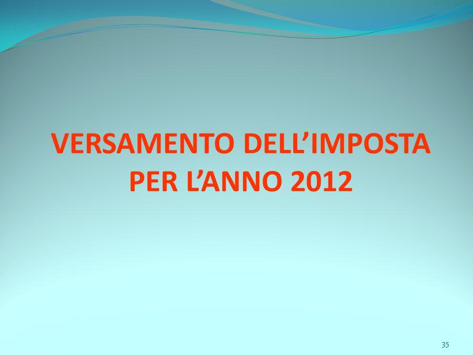 35 VERSAMENTO DELL'IMPOSTA PER L'ANNO 2012