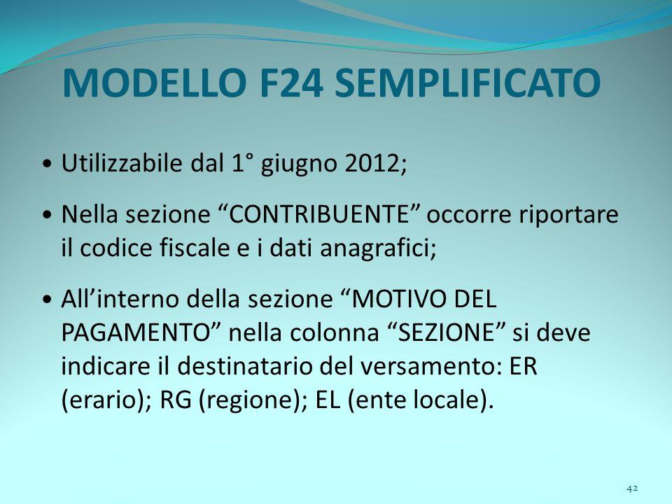 """42 MODELLO F24 SEMPLIFICATO Utilizzabile dal 1° giugno 2012; Nella sezione """"CONTRIBUENTE"""" occorre riportare il codice fiscale e i dati anagrafici; All"""