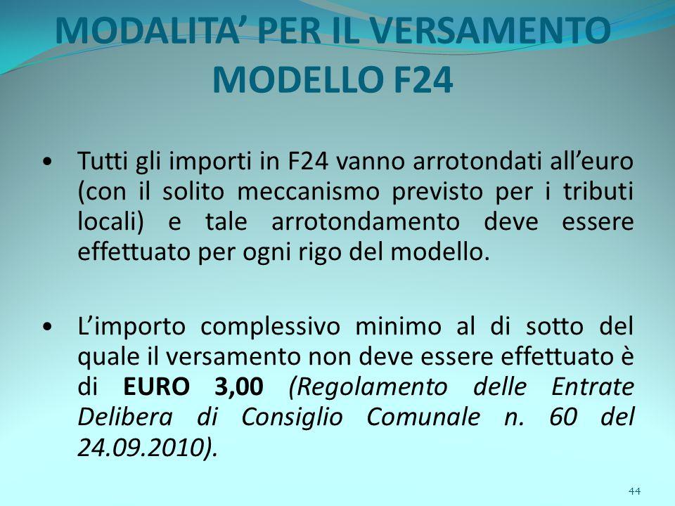 44 MODALITA' PER IL VERSAMENTO MODELLO F24 Tutti gli importi in F24 vanno arrotondati all'euro (con il solito meccanismo previsto per i tributi locali) e tale arrotondamento deve essere effettuato per ogni rigo del modello.