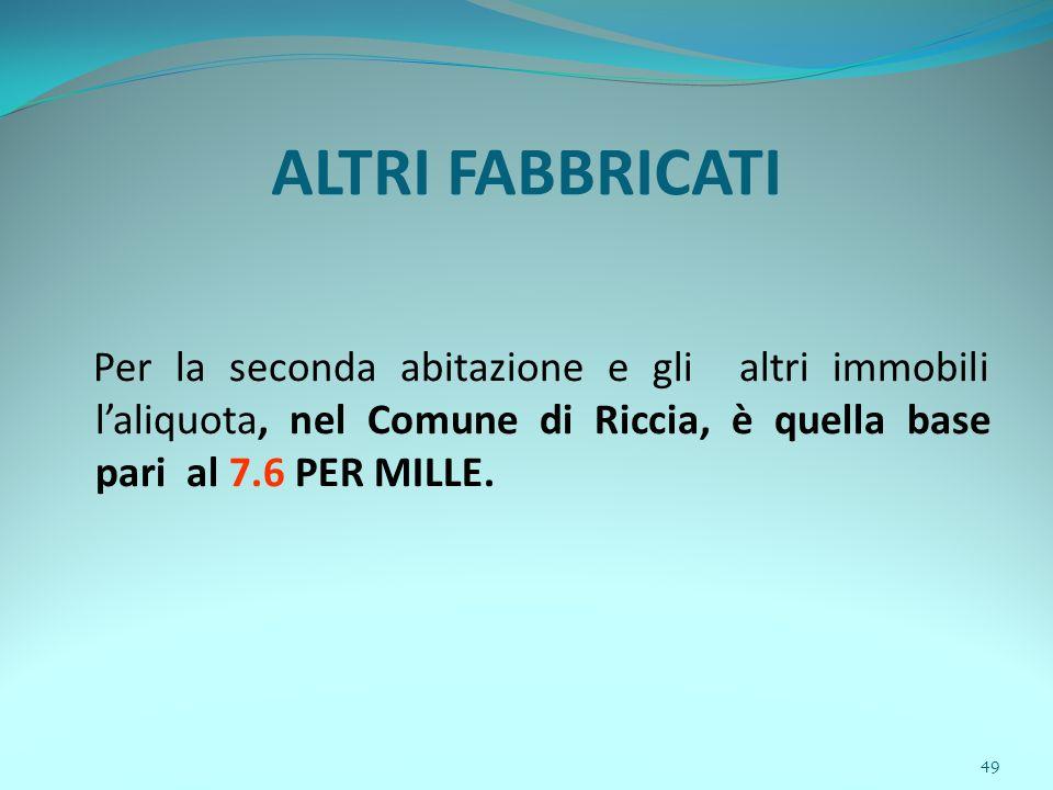 49 ALTRI FABBRICATI Per la seconda abitazione e gli altri immobili l'aliquota, nel Comune di Riccia, è quella base pari al 7.6 PER MILLE.