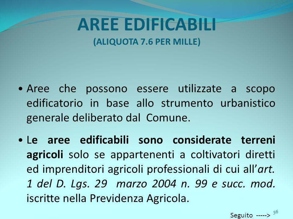 56 AREE EDIFICABILI (ALIQUOTA 7.6 PER MILLE) Aree che possono essere utilizzate a scopo edificatorio in base allo strumento urbanistico generale deliberato dal Comune.
