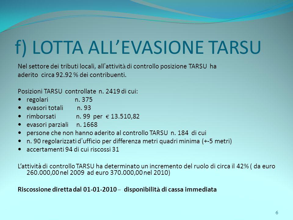 6 f) LOTTA ALL'EVASIONE TARSU Nel settore dei tributi locali, all'attività di controllo posizione TARSU ha aderito circa 92.92 % dei contribuenti.