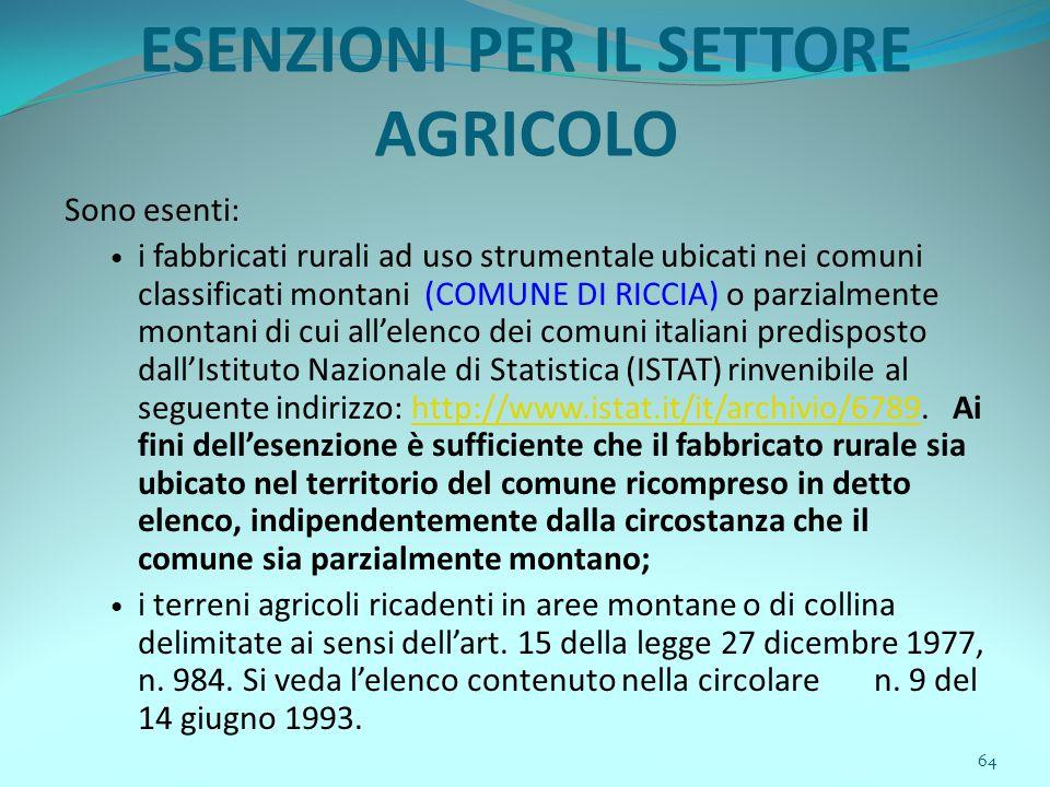 64 ESENZIONI PER IL SETTORE AGRICOLO Sono esenti: i fabbricati rurali ad uso strumentale ubicati nei comuni classificati montani (COMUNE DI RICCIA) o