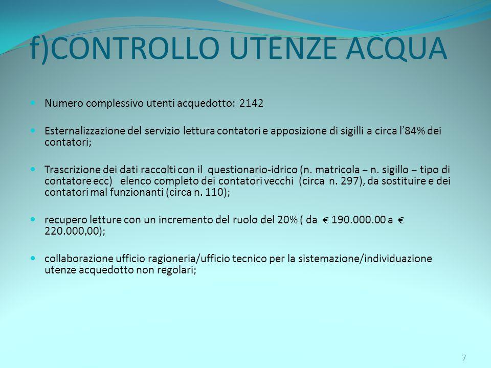 7 f)CONTROLLO UTENZE ACQUA Numero complessivo utenti acquedotto: 2142 Esternalizzazione del servizio lettura contatori e apposizione di sigilli a circ