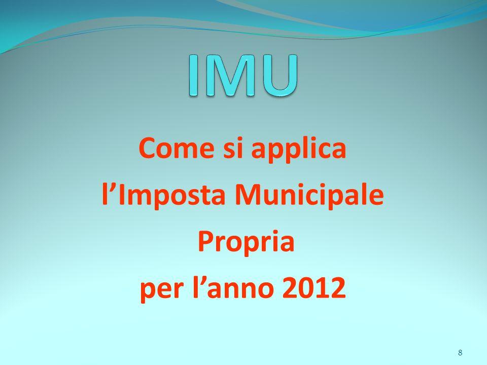 8 Come si applica l'Imposta Municipale Propria per l'anno 2012