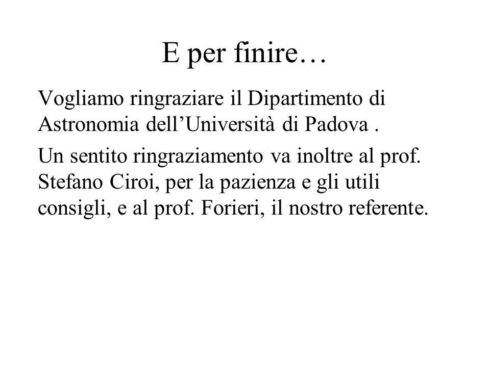 E per finire… Vogliamo ringraziare il Dipartimento di Astronomia dell'Università di Padova. Un sentito ringraziamento va inoltre al prof. Stefano Ciro