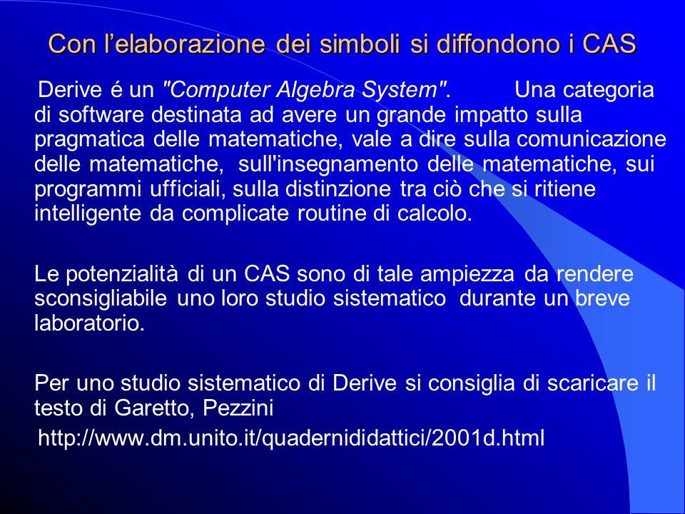 Con l'elaborazione dei simboli si diffondono i CAS Derive é un Computer Algebra System .