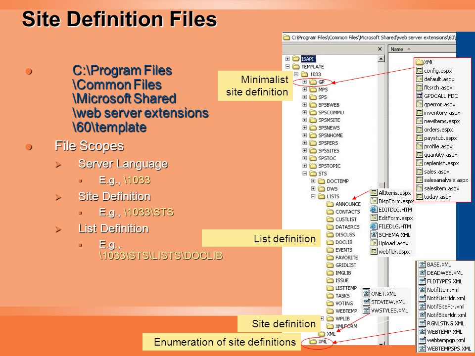 18 Site Definition Files C:\Program Files \Common Files \Microsoft Shared \web server extensions \60\template C:\Program Files \Common Files \Microsoft Shared \web server extensions \60\template File Scopes File Scopes  Server Language  E.g., \1033  Site Definition  E.g., \1033\STS  List Definition  E.g., \1033\STS\LISTS\DOCLIB Enumeration of site definitions Site definition List definition Minimalist site definition