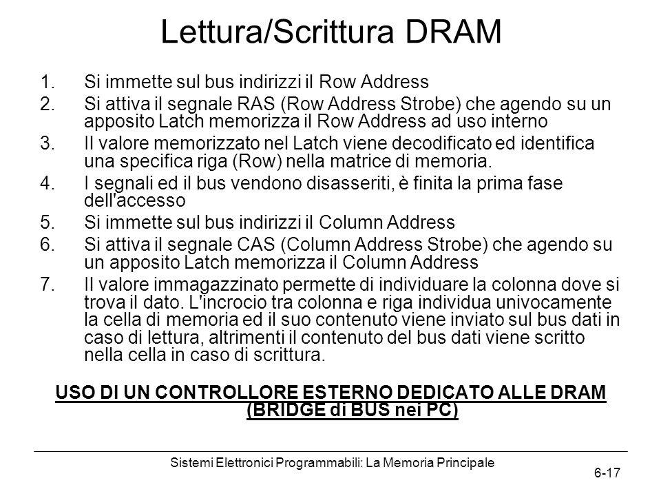 Sistemi Elettronici Programmabili: La Memoria Principale 6-17 Lettura/Scrittura DRAM 1.Si immette sul bus indirizzi il Row Address 2.Si attiva il segn