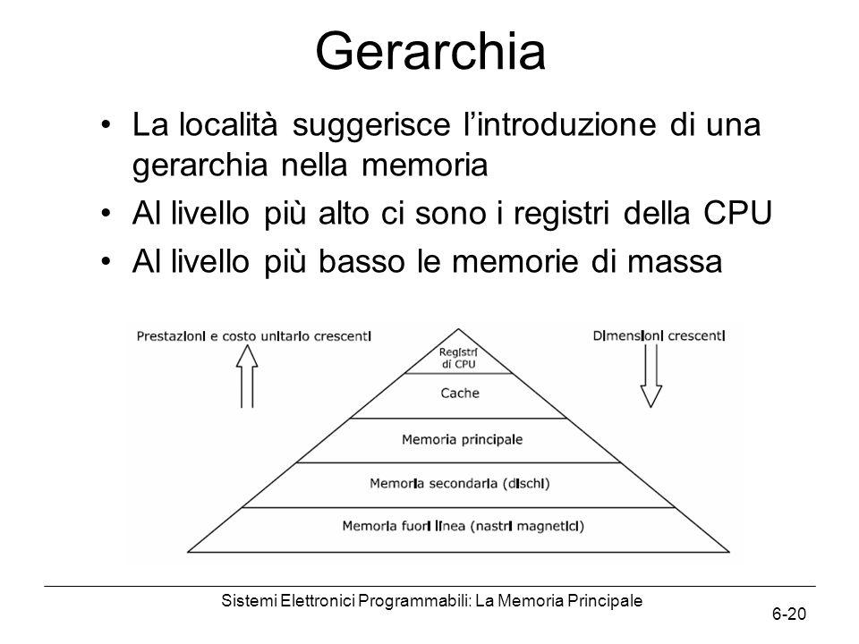 Sistemi Elettronici Programmabili: La Memoria Principale 6-20 Gerarchia La località suggerisce l'introduzione di una gerarchia nella memoria Al livell