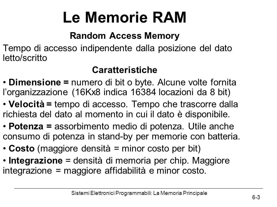 Sistemi Elettronici Programmabili: La Memoria Principale 6-3 Le Memorie RAM Random Access Memory Tempo di accesso indipendente dalla posizione del dato letto/scritto Caratteristiche Dimensione = numero di bit o byte.