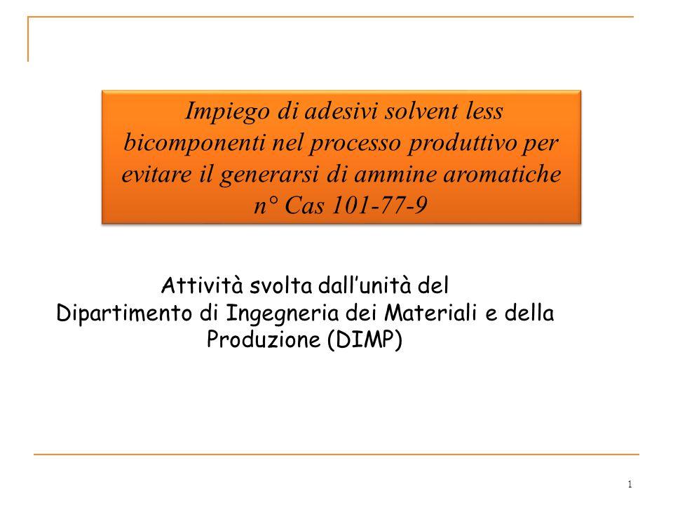 Impiego di adesivi solvent less bicomponenti nel processo produttivo per evitare il generarsi di ammine aromatiche n° Cas 101-77-9 1 Attività svolta dall'unità del Dipartimento di Ingegneria dei Materiali e della Produzione (DIMP)