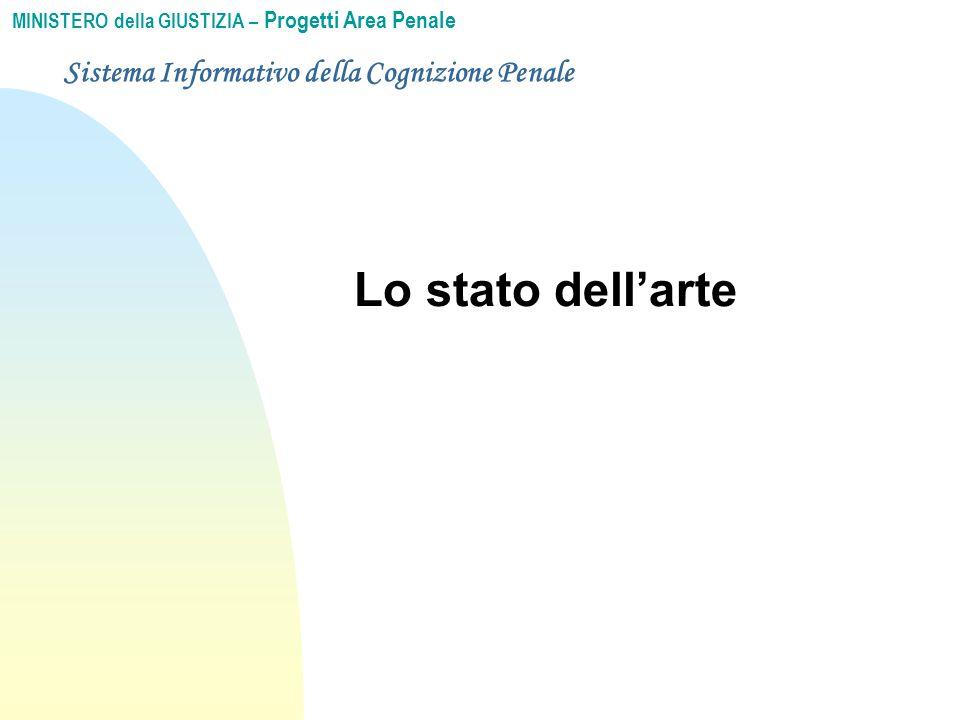 MINISTERO della GIUSTIZIA – Progetti Area Penale Sistema Informativo della Cognizione Penale Lo stato dell'arte