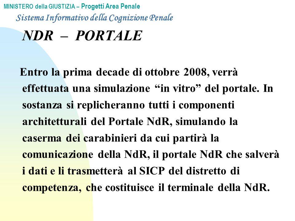 MINISTERO della GIUSTIZIA – Progetti Area Penale NDR – PORTALE Entro la prima decade di ottobre 2008, verrà effettuata una simulazione in vitro del portale.