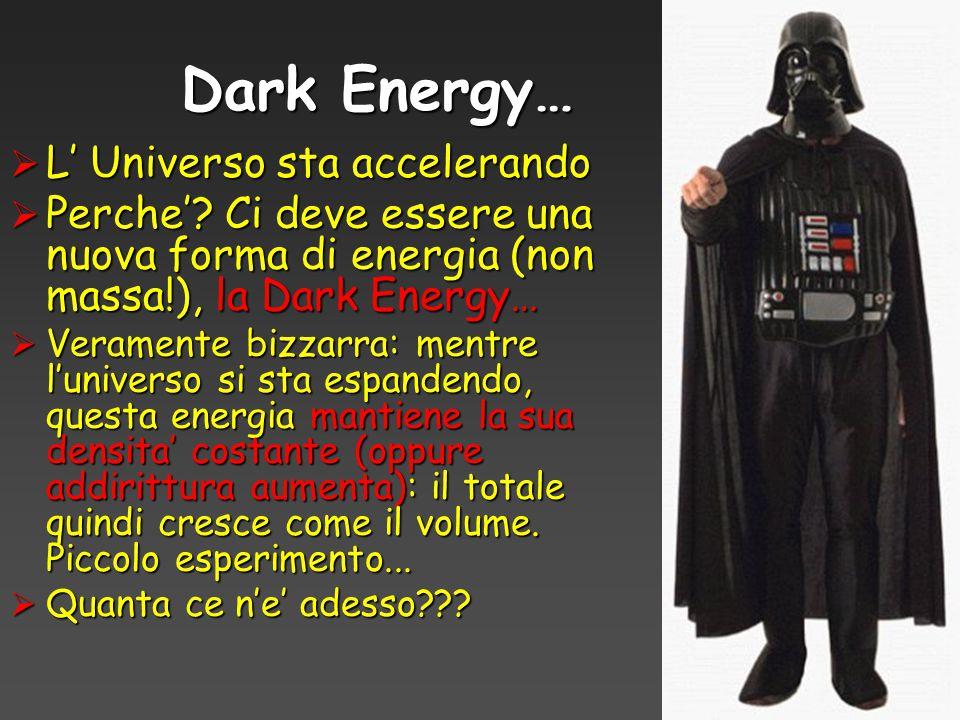 Dark Energy…  L' Universo sta accelerando  Perche'? Ci deve essere una nuova forma di energia (non massa!), la Dark Energy…  Veramente bizzarra: me