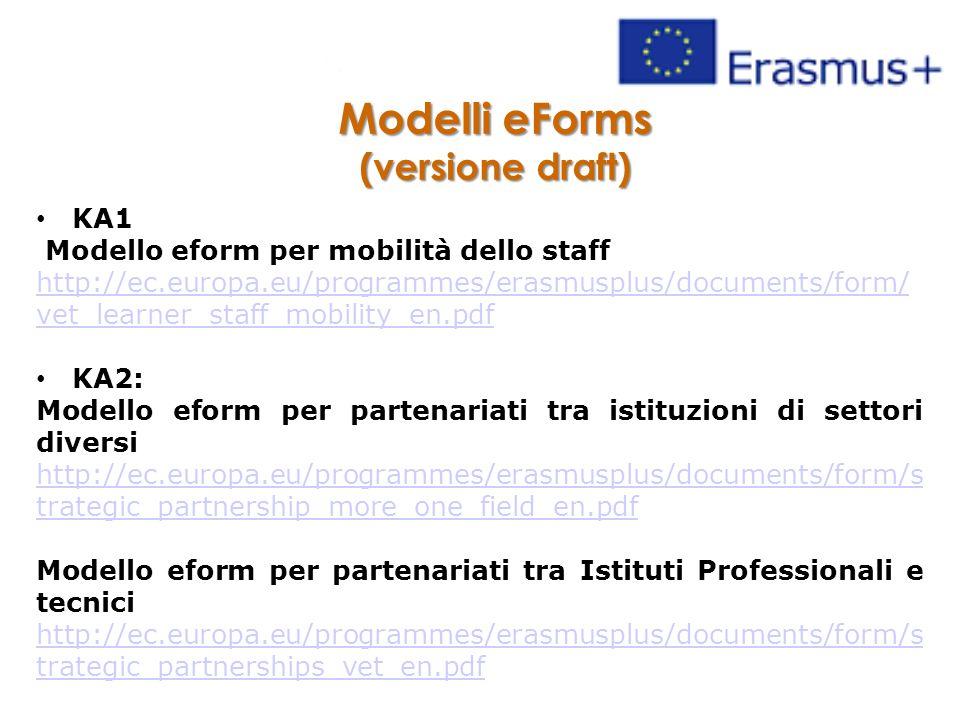 Modelli eForms (versione draft) KA1 Modello eform per mobilità dello staff http://ec.europa.eu/programmes/erasmusplus/documents/form/ vet_learner_staff_mobility_en.pdf KA2: Modello eform per partenariati tra istituzioni di settori diversi http://ec.europa.eu/programmes/erasmusplus/documents/form/s trategic_partnership_more_one_field_en.pdf Modello eform per partenariati tra Istituti Professionali e tecnici http://ec.europa.eu/programmes/erasmusplus/documents/form/s trategic_partnerships_vet_en.pdf
