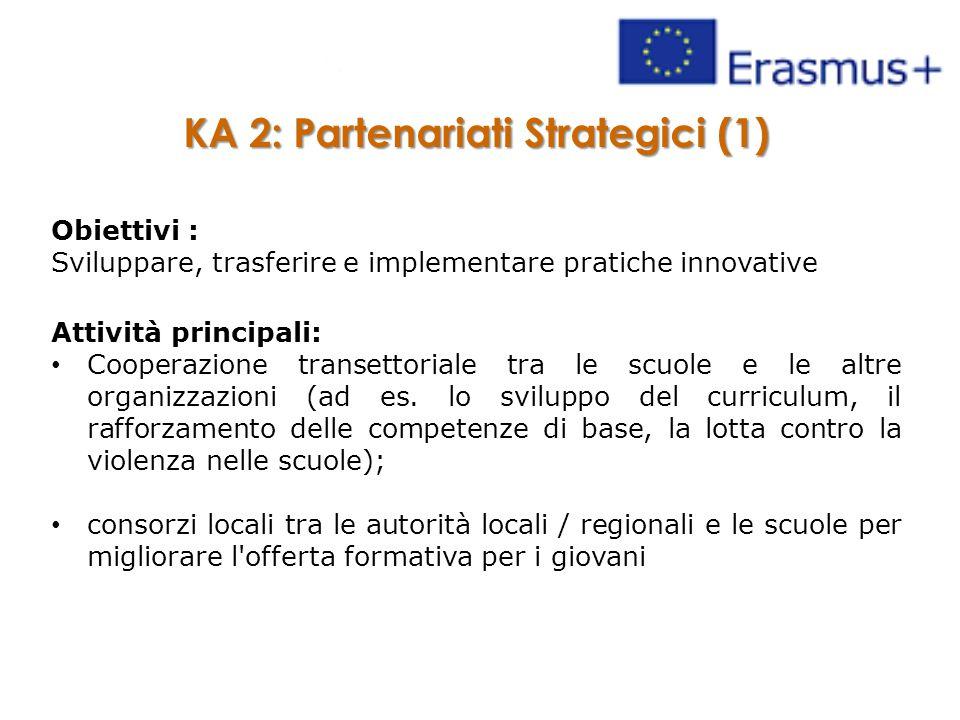 KA 2: Partenariati Strategici (1) Obiettivi : Sviluppare, trasferire e implementare pratiche innovative Attività principali: Cooperazione transettoriale tra le scuole e le altre organizzazioni (ad es.