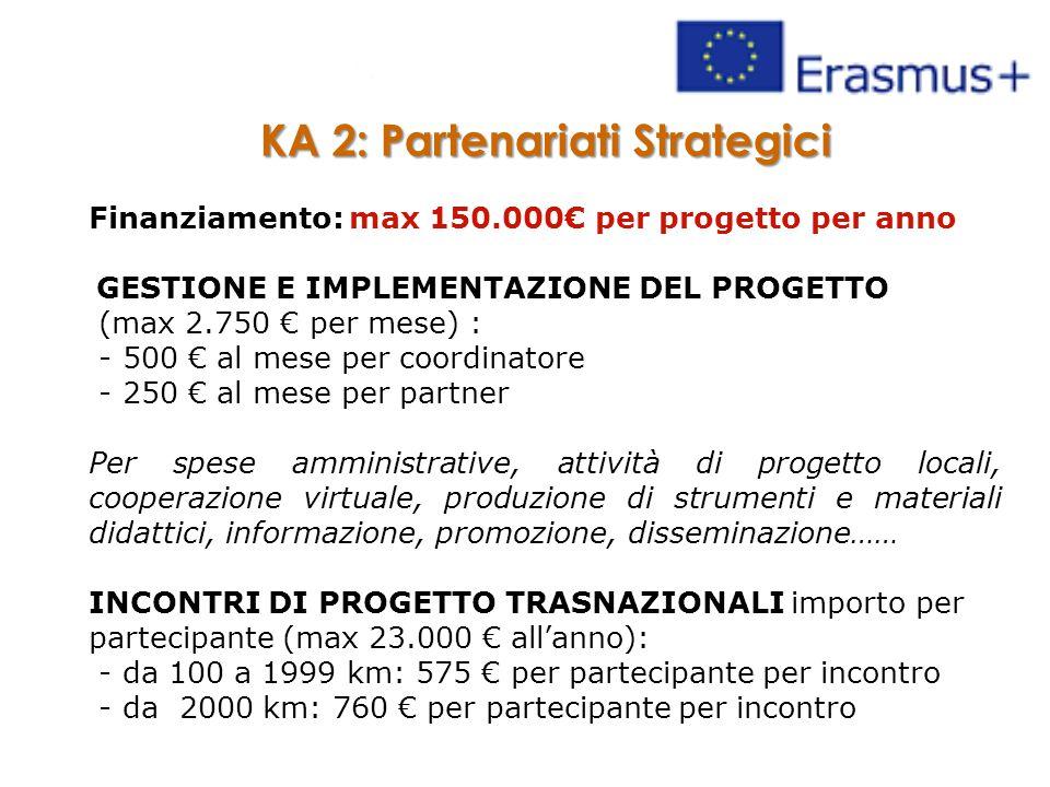 KA 2: Partenariati Strategici Finanziamento: max 150.000€ per progetto per anno GESTIONE E IMPLEMENTAZIONE DEL PROGETTO (max 2.750 € per mese) : - 500 € al mese per coordinatore - 250 € al mese per partner Per spese amministrative, attività di progetto locali, cooperazione virtuale, produzione di strumenti e materiali didattici, informazione, promozione, disseminazione…… INCONTRI DI PROGETTO TRASNAZIONALI importo per partecipante (max 23.000 € all'anno): - da 100 a 1999 km: 575 € per partecipante per incontro - da 2000 km: 760 € per partecipante per incontro