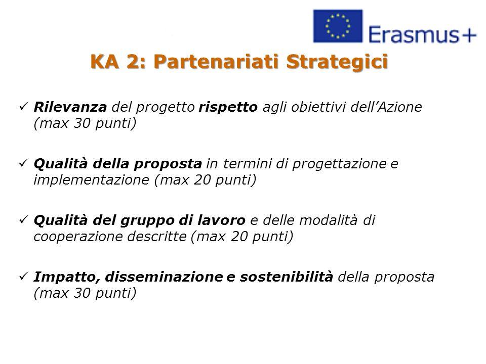 KA 2: Partenariati Strategici Rilevanza del progetto rispetto agli obiettivi dell'Azione (max 30 punti) Qualità della proposta in termini di progettazione e implementazione (max 20 punti) Qualità del gruppo di lavoro e delle modalità di cooperazione descritte (max 20 punti) Impatto, disseminazione e sostenibilità della proposta (max 30 punti)