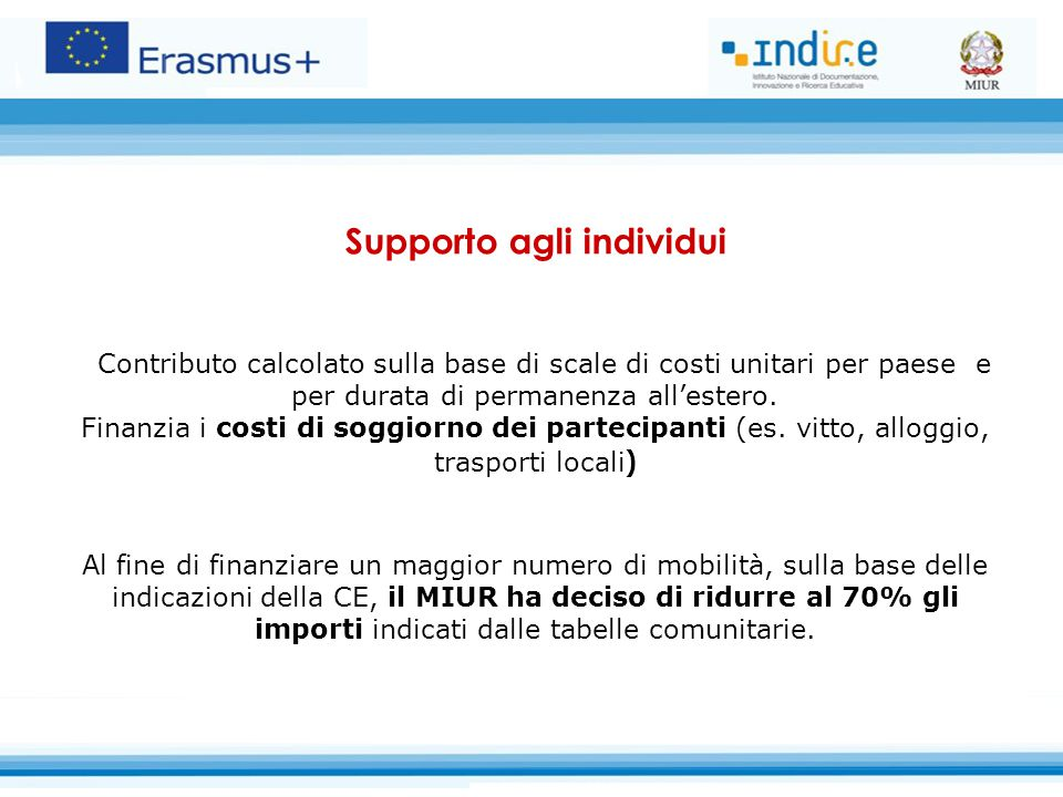 Supporto agli individui Contributo calcolato sulla base di scale di costi unitari per paese e per durata di permanenza all'estero.