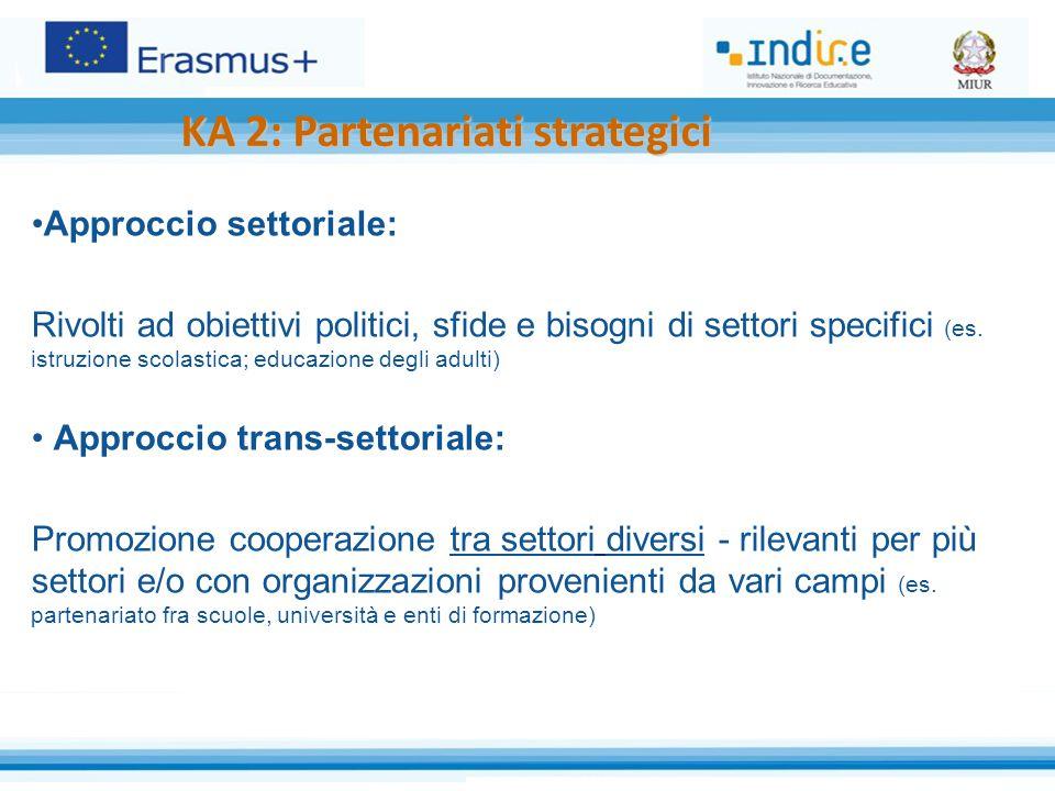 Approccio settoriale: Rivolti ad obiettivi politici, sfide e bisogni di settori specifici (es.
