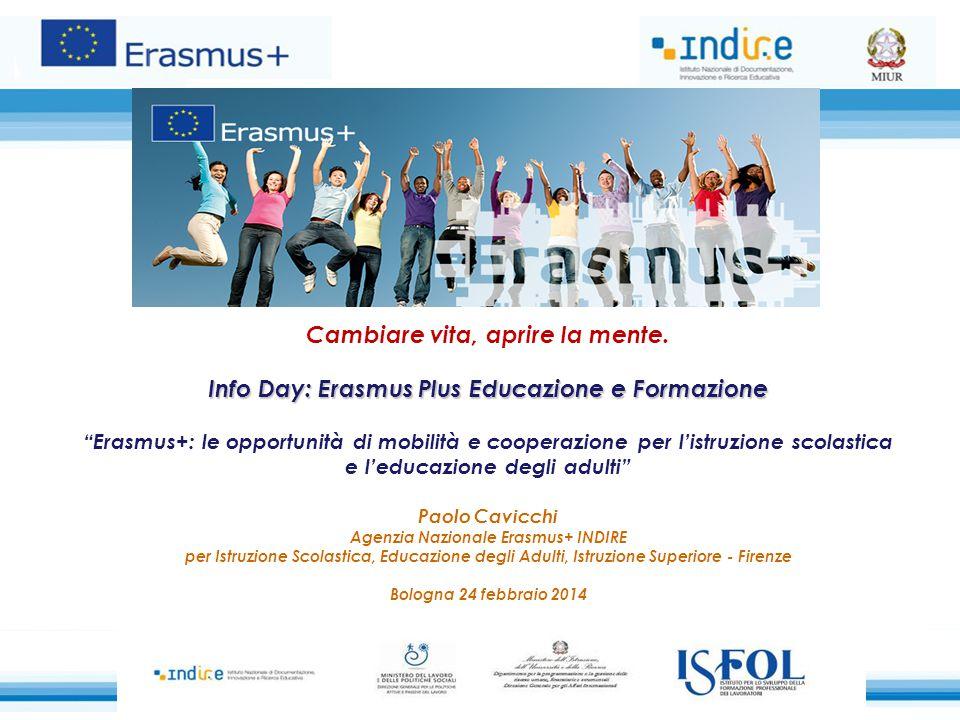 """Cambiare vita, aprire la mente. Info Day: Erasmus Plus Educazione e Formazione """"Erasmus+: le opportunità di mobilità e cooperazione per l'istruzione s"""
