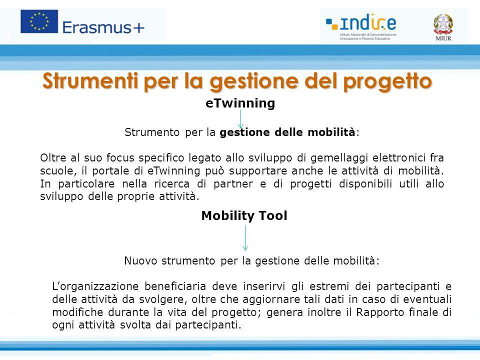 Mobility Tool Nuovo strumento per la gestione delle mobilità: L'organizzazione beneficiaria deve inserirvi gli estremi dei partecipanti e delle attivi