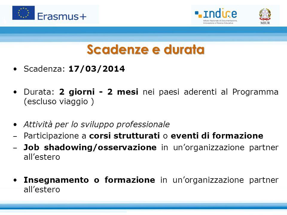 Scadenza: 17/03/2014 Durata: 2 giorni - 2 mesi nei paesi aderenti al Programma (escluso viaggio ) Attività per lo sviluppo professionale ‒ Participazi