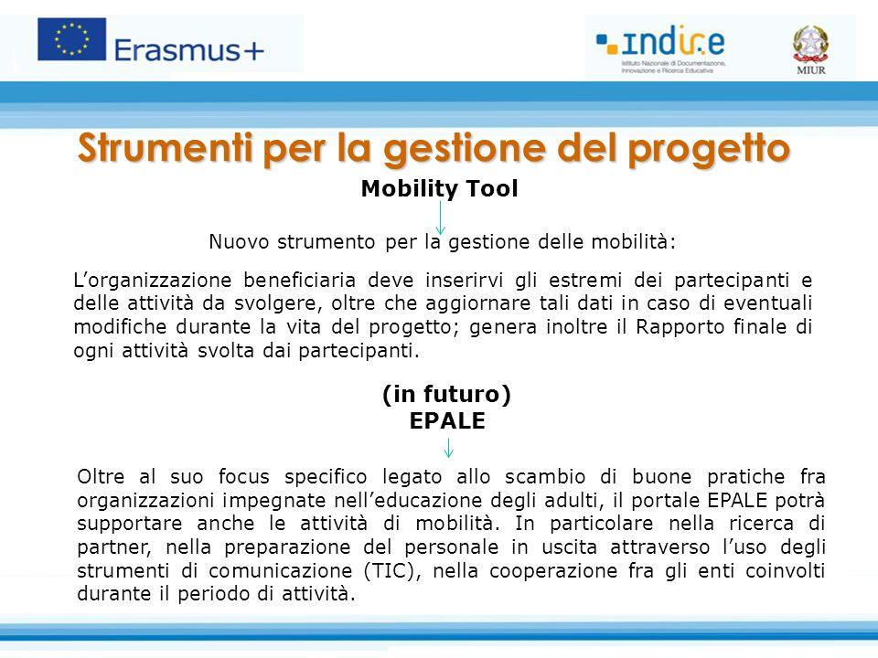 (in futuro) EPALE Oltre al suo focus specifico legato allo scambio di buone pratiche fra organizzazioni impegnate nell'educazione degli adulti, il portale EPALE potrà supportare anche le attività di mobilità.
