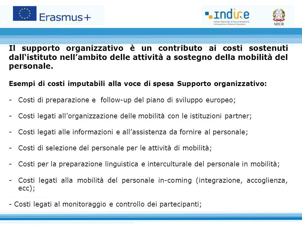 Il supporto organizzativo è un contributo ai costi sostenuti dall'istituto nell'ambito delle attività a sostegno della mobilità del personale. Esempi